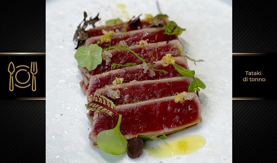 Tataki di tonno rosso con finger lime caviar
