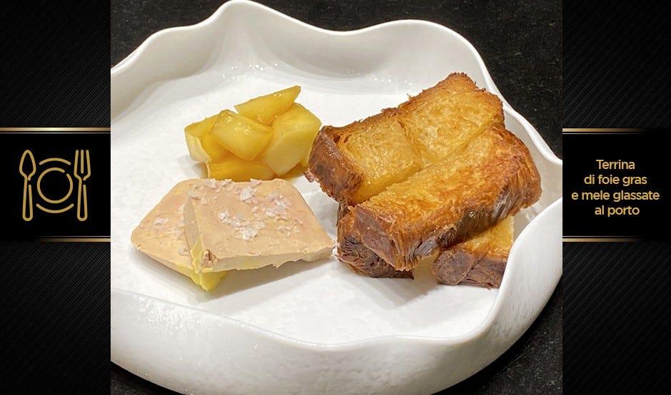 Antipasto di Natale di terra   Terrina di foie gras e mele glassate al porto