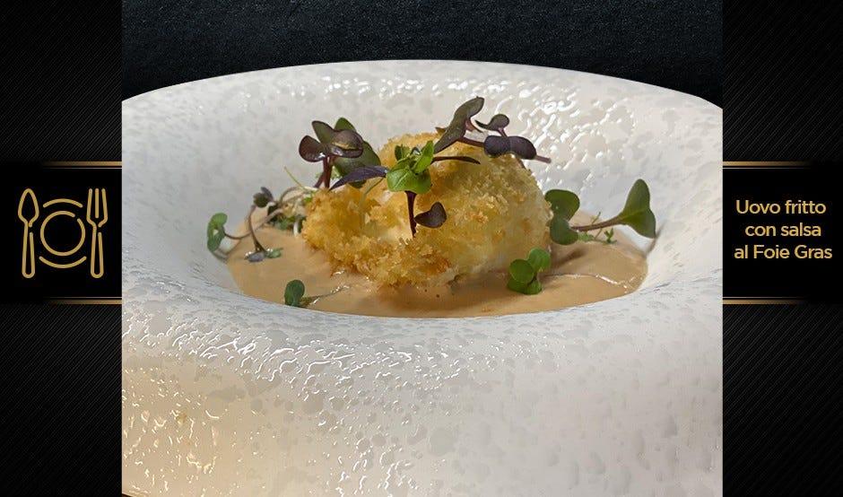 Uovo fritto con salsa al foie gras